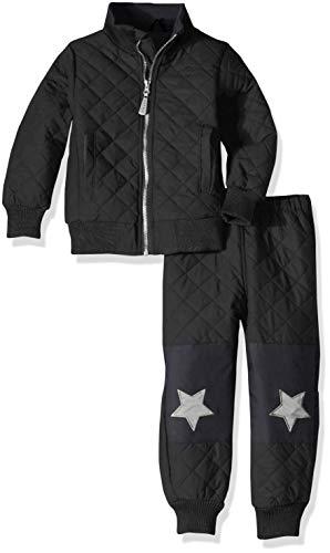 mikk-line Unisex Baby Duvet Thermo-Set Fleece Jacke, Schwarz (Black 190), (Herstellergröße: 98)