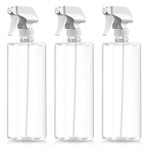 BAR5F - Botellas pulverizadoras de plástico con disparador mezclador, 32 onzas, profesionales, a prueba de fugas, vacías, ajustables finas a potentes pulverizadores, recargables, para plantas de agua, soluciones de limpieza, transparentes, paquete de 3