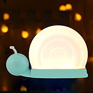 crib bedding and baby bedding baby night light for kids, chialstar 7 colors led nursery night light cute snail bedside lights with touch sensor and base suction cup rechargeable and portable kids nightlight christmas gift (cyan)