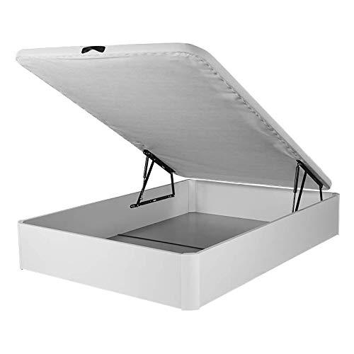 DHOME Canape abatible Tapizado 3D monocromático con Apertura Normal o Lateral Varias tonalidades 4 válvulas Esquinas canapé Madera (150x190 22mm, Blanco)