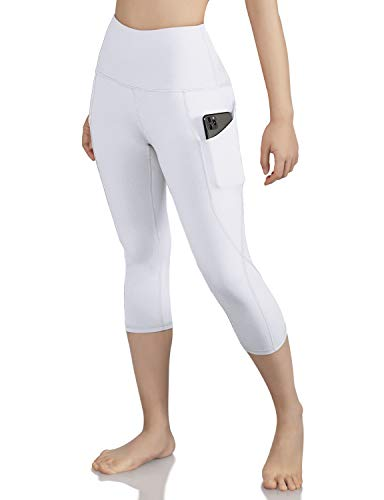 ODODOS Women's High Waist Yoga Capris with Pockets,Tummy Control,Workout Capris Running 4 Way Stretch Yoga Leggings with Pockets,White,Medium