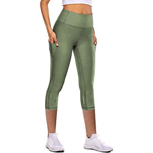 quming PantalóN Largo Jogging Deportivo Yoga,Pantalones de Yoga de Secado rápido para Mujeres, Pantalones de chándal elásticos Ajustados de Siete Puntos-Green_L