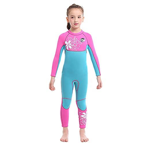 MOYOTO Girls Surf Swimsuit Traje De Trabajo Wetsuit Traje De Baño De Manga Larga con Cremallera Trasera Mantenga El Protector Terrestre Y Solar para El Surf De La Tabla,Azul,M