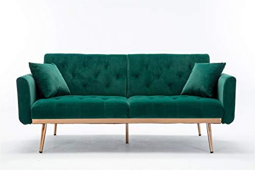 Keebgyy Velvet Sofa Bed, Convertible Sofa Couch Velvet Sleeper Futon Modern Loveseat Plush Tufted Velvet Fabric Splitback, for Living Room Apartment Small Space Green