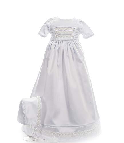 Princess Taufkleid Kleid für Taufe traditionell lang Belinda Weiss Grösse 62 Kurzarm mit Haube aus Baumwolle