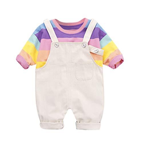 TTLOVE Kleinkind Boy Kinder Regenbogen Streifen Tops T-Shirt Riemen Kurze Outfits Set,Baby Jungen Bekleidungssets Baby Kleikind FüR Sommer Festliche Taufe Hochzeit (Beige A, 100)
