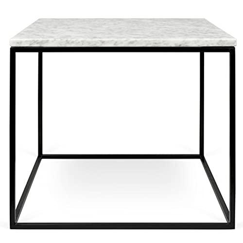 Paris Prix - Temahome - Table D'appoint Gleam 50cm Marbre Blanc & Métal Noir