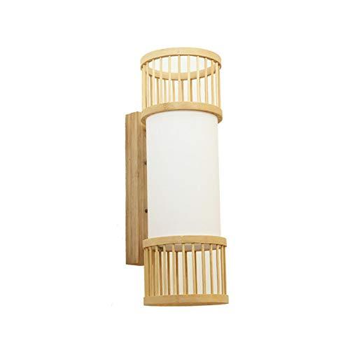 Wj Lámpara de Pared de ratán Lámparas de bambú para Arriba y...