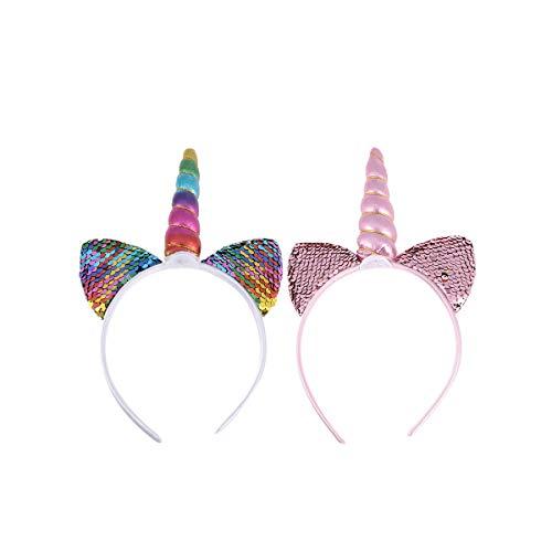 2 stuks eenhoorn hoofdband kleurrijke pailletten oorhoorn hoofdband party haaraccessoires voor festival verjaardag (regenboog, roze)