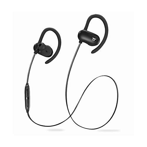 TaoTronics TT-BH054 Wireless Hands Free Sweatproof Bluetooth Earphones with Flexible Secure Hooks and Travel Case, Black