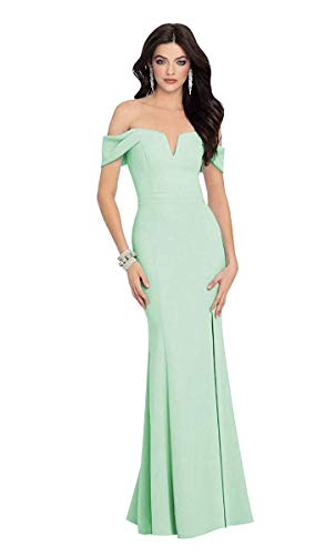 Martha Lia Women's Off Shoulder Mermaid Bridesmaid Dresses Satin Long Formal Gowns with Cap Sleeves Mint Green 8