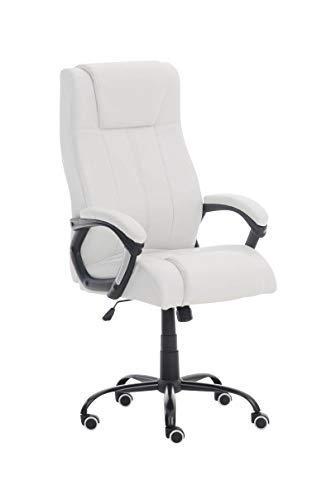 CLP Poltrona Ufficio Direzionale Matador in Similpelle I Sedia Studio Ergonomica Girevole E Regolabile, Colore:Bianco