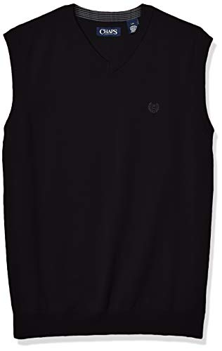 Chaps Men's Cotton V-Neck Sweater Vest, Black, M