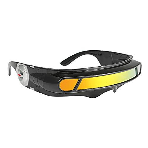 KINGDUO Gafas De Sol Futuristas Espejo Estrecho Lente Wrap Visor Robot Disfraz Envoltura Gafas-Rojo
