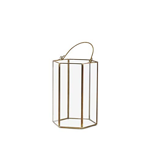 Serene Spaces Living Clear Glass Hexagon Lantern with Gold Edges, Measures 8 inches Tall, Sold Individually