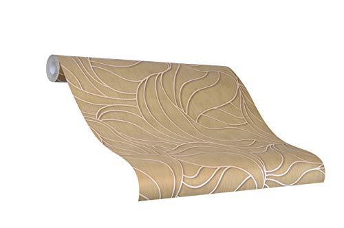 Tapete Gold Grafisch - Blatt, Blätter, Floral, Pflanze - Ideal für Wohnzimmer - Colani Visions - Made in Germany - 10,05m X 0,70m - 53341