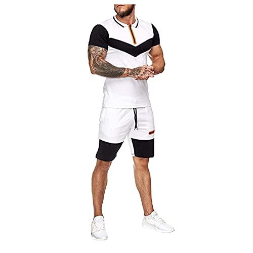 LAOLUO Ensemble Homme Jogging Football Survêtement Patchwork été Casual Polo et Short 2 Pièces T shirt de Sport Costume Hommes Col Revers Patchwork Fitness Musculation 2021 Nouveau Sportswear