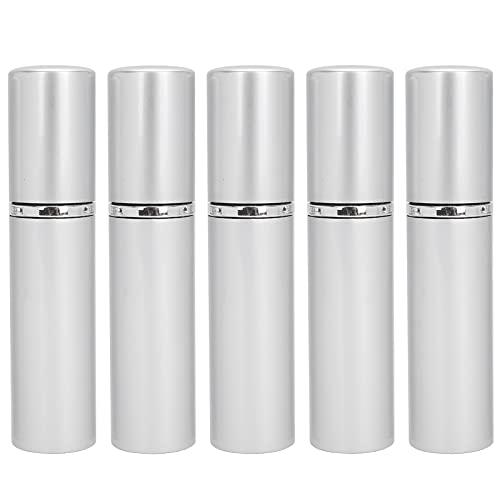 Botella de spray de perfume atomizador de 10 ml para viajes, dispensador de perfume de botella recargable de aluminio vacía 5 piezas(Plata)