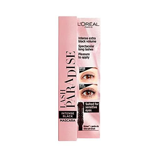 L'Oréal Paris Paradise, Intense Volume, Castor Oil-Enriched, Eyelash Lengthening Mascara, Flake Free Formula, Soft Mascara Brush, Black