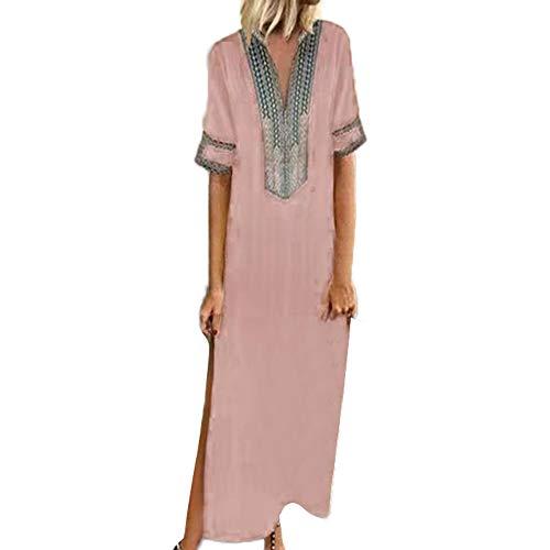 TUSANG Women Skirts Printed Long Sleeve V-Neck Maxi Dress Hem Baggy Kaftan Long Dress Slim Fit Comfy Dress(Pink,US-14/CN-3XL)