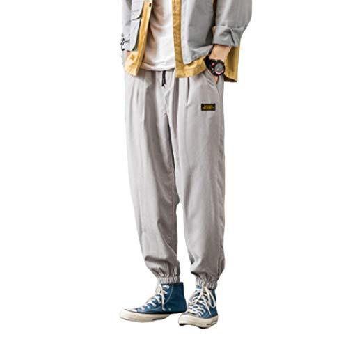 Pantalones Harem Holgados de piernas Anchas para Hombre Otoño e Invierno más Pantalones Casuales de Terciopelo con cordón Cintura elástica Pantalones cálidos a Prueba de Viento 5X-Large