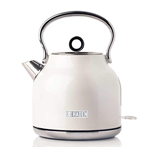 Haden Heritage Cordless Kettle - Traditional Electric Fast Boil Kettle, 3000W, 1.7 L, White CE23