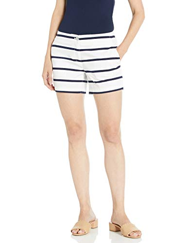 Nautica Women's Tailored Stretch Cotton Patterned Short, Navy/White, 8