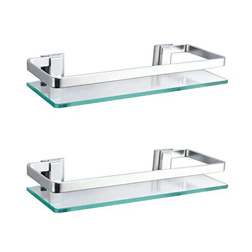 ENCOFT Estanteria Baño Aluminio Templado Estanteria Cristal Rectangular 8mm Extra Gruesa Montado en la Pared Plateado (2, Plata)