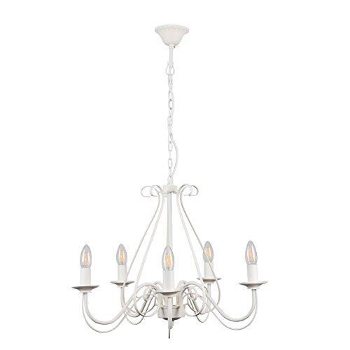 MiniSun – Bel lampadario 'Anais' nello stile vintage, grande (840mm), con 5 bracci e finitura bianca