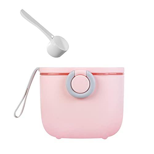 Putybudy Dispensador de Fórmula de Leche en Polvo para Bebés de 400 ml, Contenedor Portátil de Leche en Polvo con Raspador para Bebés, Niños y Niñas |Rosa -400ML