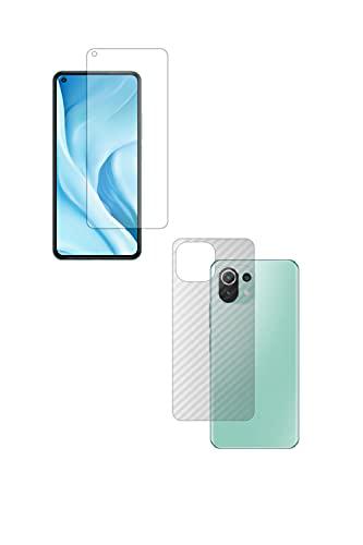 【2枚組(画面+背面)】ClearView(クリアビュー) Xiaomi Mi 11 Lite 5G 用【反射防止ノンフィラータイプ】液晶保護フィルム ギラツキなし+カーボン調 背面保護フィルム 日本製