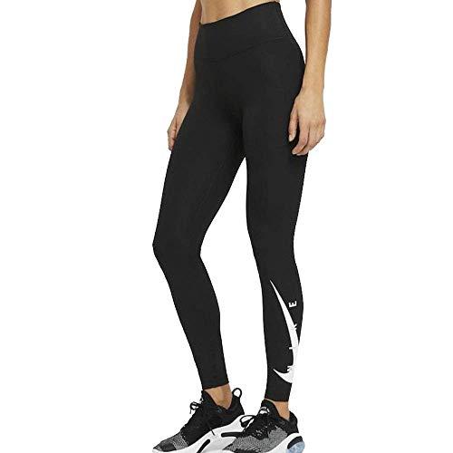 Nike Damen Swoosh Run Hose, Black/Reflective Silv, XL