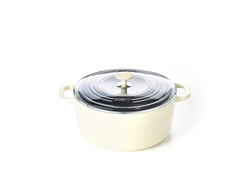 Kitchen Stories SimmerPro 28cm/6.6L Dutch Oven/Casserole Dish with Tempered Self-basting Lid, Healthy Ceramic Nonstick, Aluminium, Metal Utensil/Induction/Dishwasher/OvenSafe, White