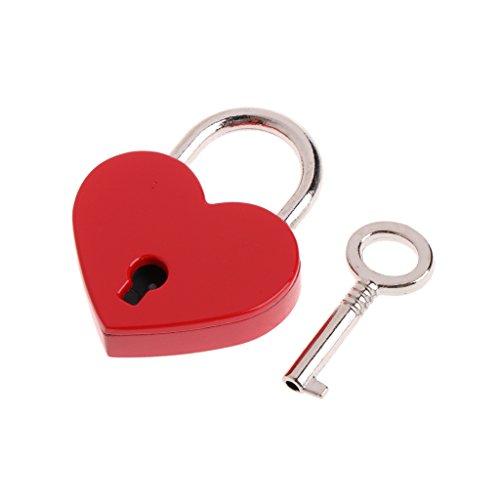 ZJL220 - Cerradura con llave con llave en forma de corazón antigua, estilo antiguo