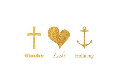 Postkarte A6 +++ LUSTIG von modern times +++ GLAUBE LIEBE HOFFNUNG +++ MODERN TIMES © GOLD