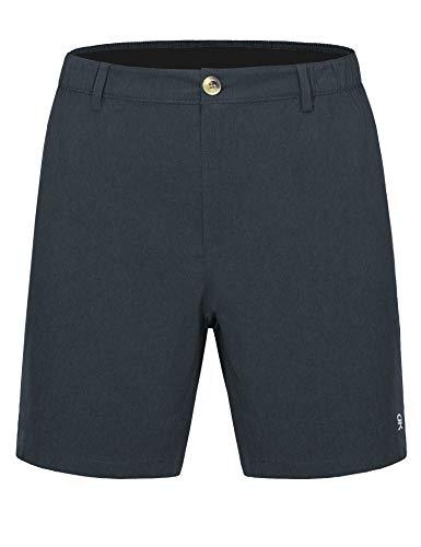 Little Donkey Andy Bermuda - Pantalones cortos elásticos ligeros de 22,8 cm, de secado rápido, para golf, senderismo, color negro jaspeado 2XL