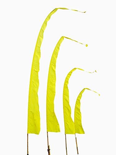 DEKOVALENZ Balifahnen-Stoff SANUR |mit herzförmiger Spitze | Umbul Asien-Fahnen | Fahnenlänge: 5 Meter | Farbe: Gelb