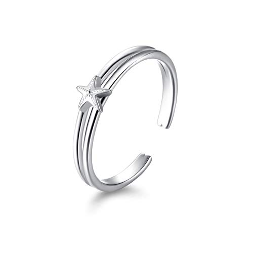 LUHE Sterling Silver Starfish Toe Rings Hypoallergenic Midi Ring Body Jewelry for Women(Starfish Toe Ring)