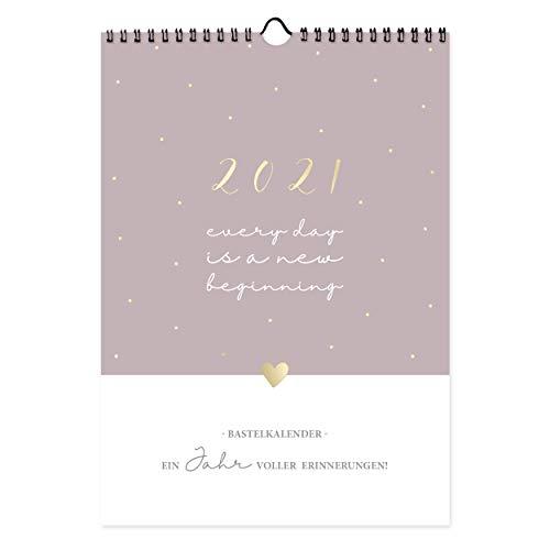 Bastelkalender A4, Fotokalender 2021 zum Selbstgestalten als Wandkalender, Jahreskalender mit Monatsübersicht, zB Geschenkidee für Weihnachten