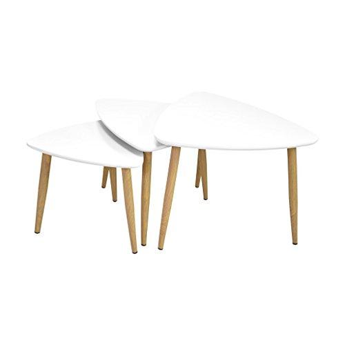 Zons Set De 3 Mini Tables Basses 60x58xH43,5cm / 52x50xH39,5cm / 42x40xH35,5cm Blanc