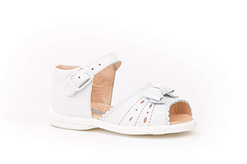 Sandalia de Piel Fabricados en España. Disponible Desde la Talla 18 hasta la Talla 24 - Mi Pequeña Modelo 924V Color Blanco Plata Fuxia Platino y Rosa