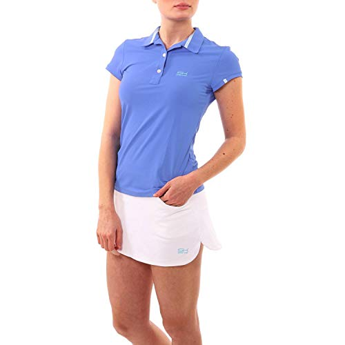 Sportkind Mädchen & Damen Tennis, Golf, Sport Poloshirt Kurzarm, UV-Schutz UPF 50+, atmungsaktiv, Kornblumen blau, Gr. 152