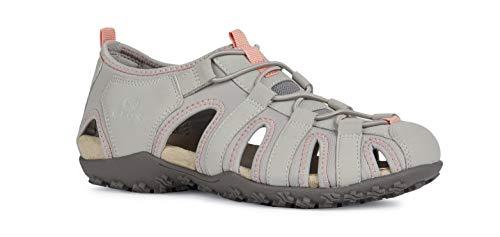 Geox Sandal STREL D9225A Damen Trekking Sandalen,Frauen Outdoor-Sandale,Sport-Sandale,geschlossener Zehenbereich,LT Grey,40