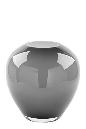 Fink Vase Losone - aus Glas mundgeblasen Opal grau H 20cm D 20 cm