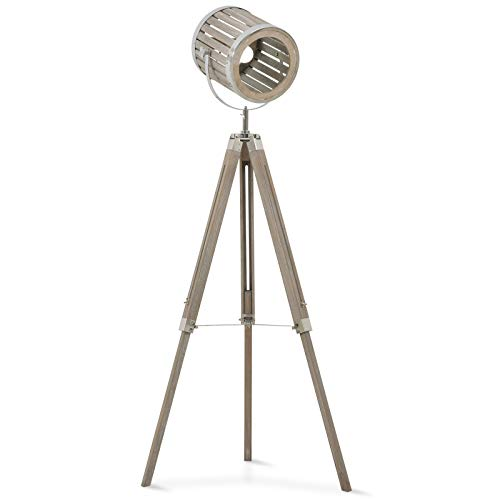 HOMCOM Telescopic Floor Lamp Unique Wood Frame Adjustable Shade Height Unique Vintage Spotlight Metal Home Office Furniture Lighting