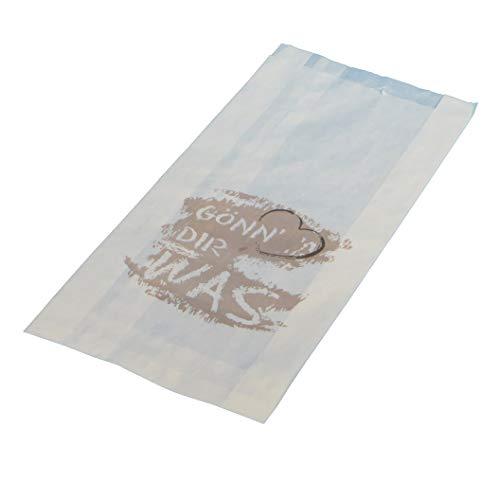 1000 Papier Faltenbeutel Bäckerfaltenbeutel Brötchentüten weiß mit Aufdruck