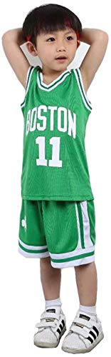 NBA Boston Celtics Kyrie Irving # 11 Boys Girls Basketball Jersey Set-Verde_3XS