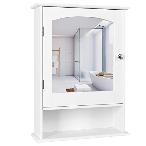 Homfa Bathroom Mirror Cabinet, Wall Mounted Storage Cabinet Medicine Cabinet with Single -