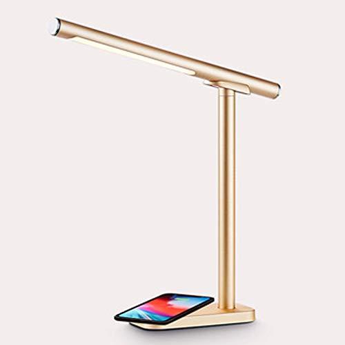 MLMQ Lámpara de Mesa Magnético Regulable, Lámpara de Escritorio Infantil LED con Panel Táctil Temperatura de Color 3, Luz de Lectura Moderna para Dormitorio Trabajo, 7W,Oro