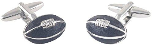 Silber/Schwarzes Leder Rugby Ball Manschettenknöpfe von David Van Hagen